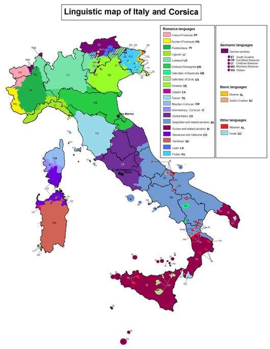 Datei:Linguistic map of Italy.png