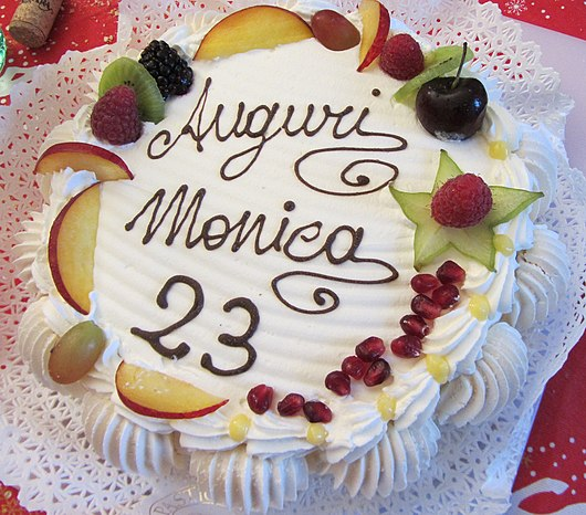 Datei:Torta di compleanno - Birthday cakes of Italy - fruit Meringue Whipped cream from traditional pastry of Milan.jpg
